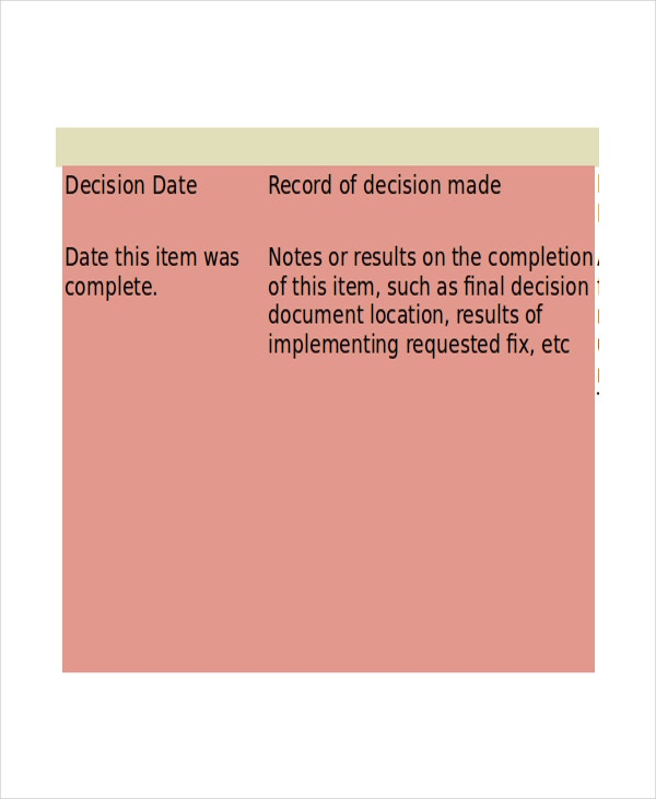Business-Decision-Log-Template