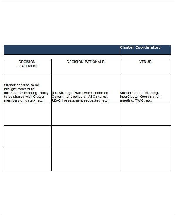 Decision Log Template   Free Word Excel Pdf Documents