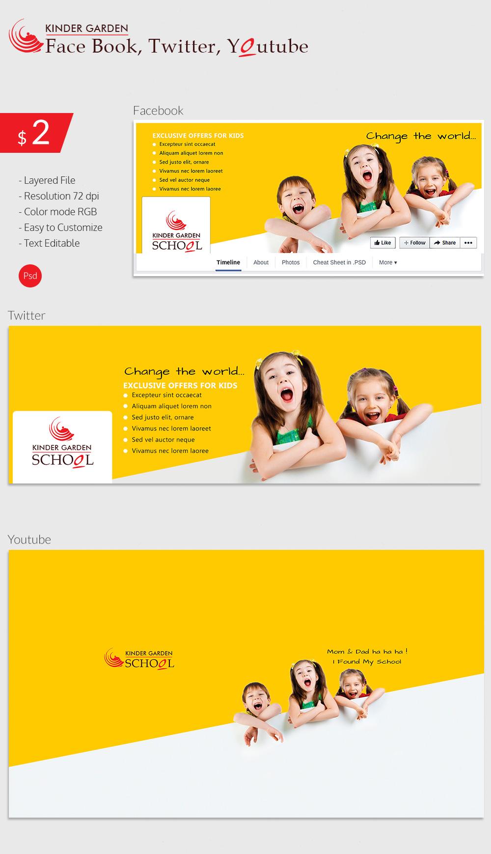 Kindergarten School Social Cover Page Design & Template
