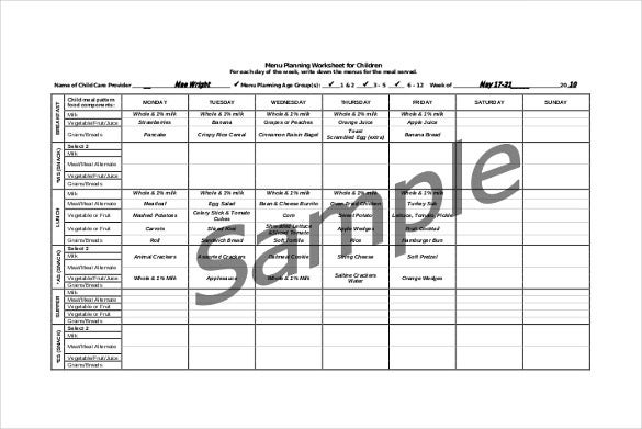 daycare menu planning and record book free pdf format download