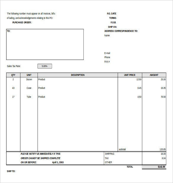 Template For Purchase Order Form Download  Purchase Order Format Free Download