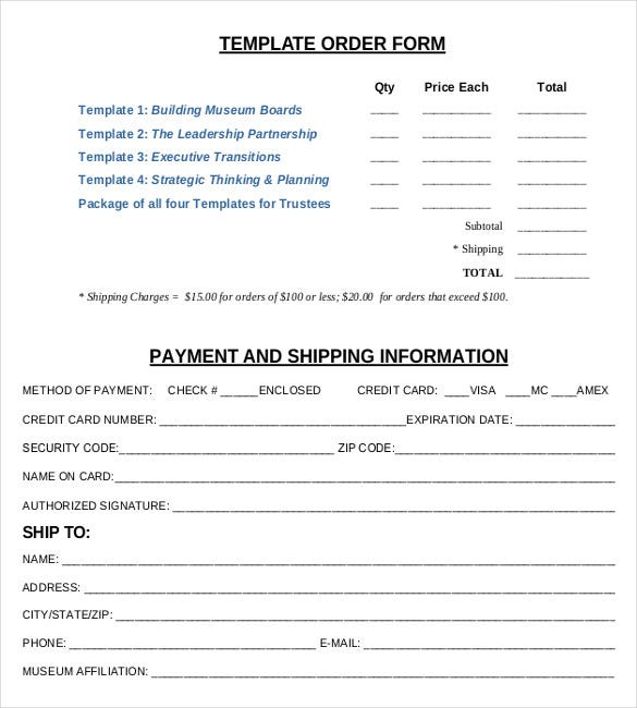 Order Form Templates Free Sample Example Format Download