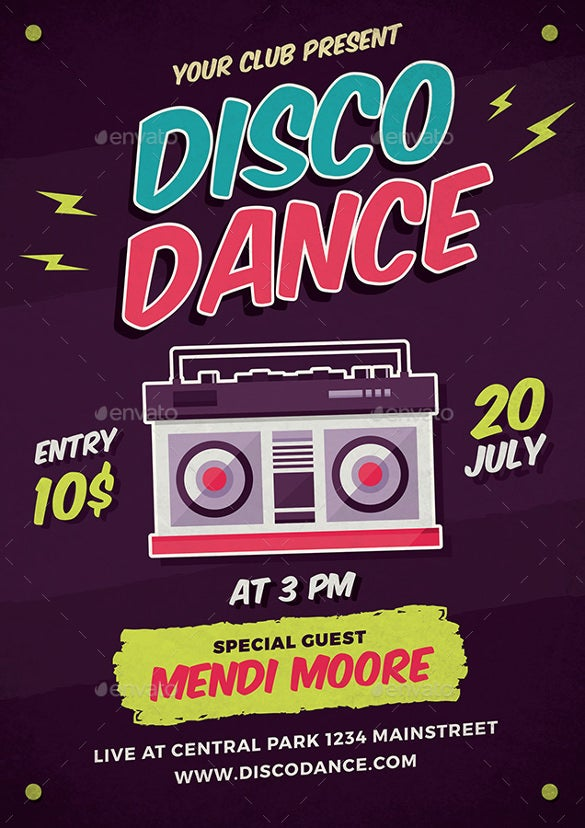 disco dance poster flyer illustrator format download