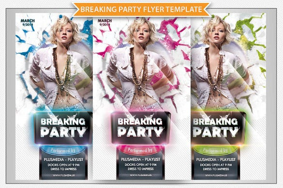 breaking party dance poster template psd design