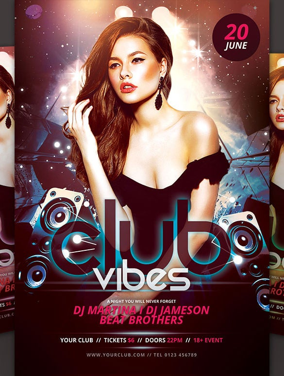 club vibes dance poster download in psd format