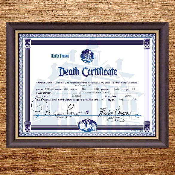 Sample death certificate templates 12 free word pdf documents disney haunted mansion death certificate yadclub Gallery
