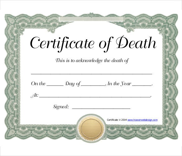 death certificate for work