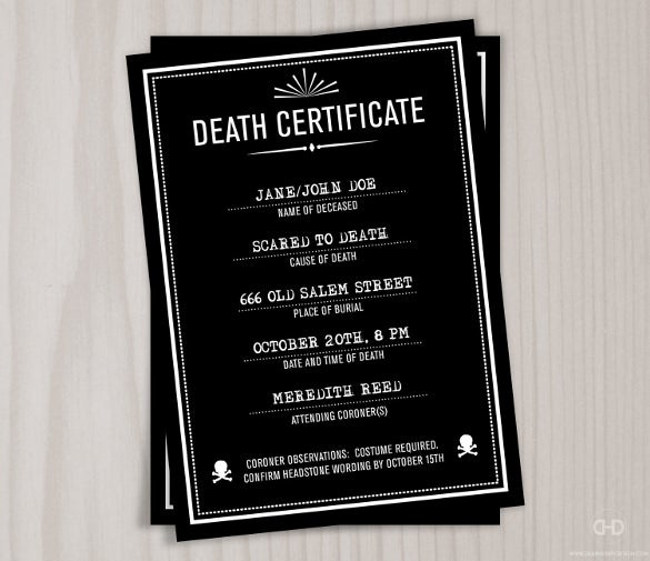 Sample death certificate templates 12 free word pdf documents creepy death certificate stopboris Gallery