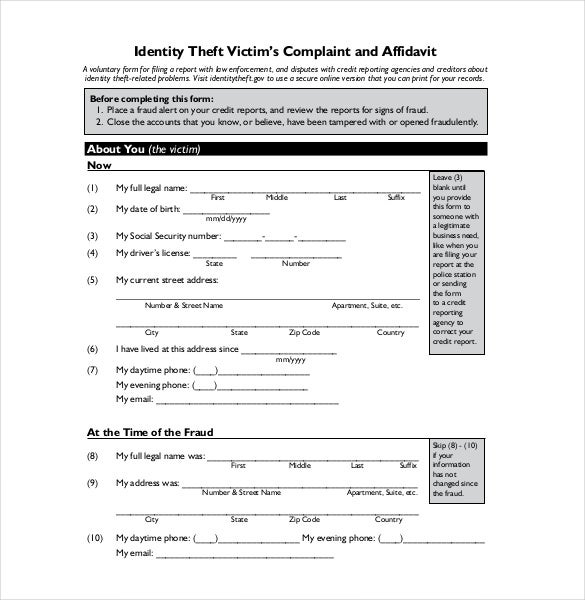 Victim Report Template