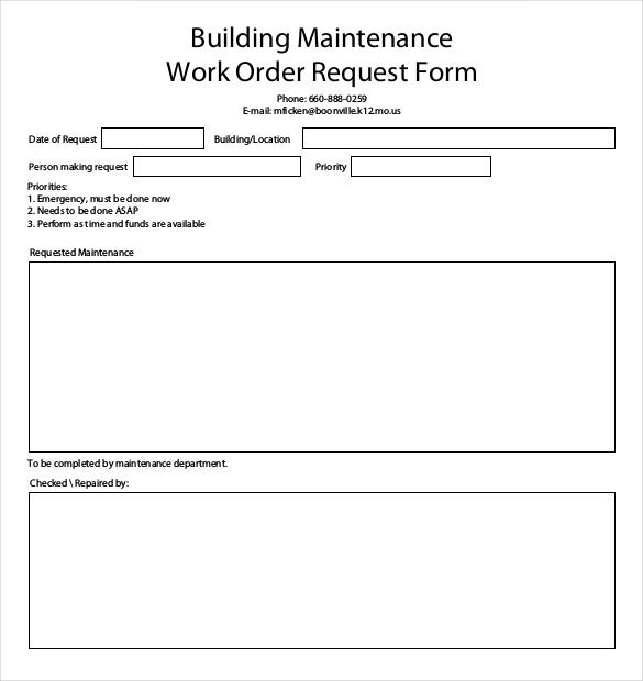 building maintenance work order request form example format