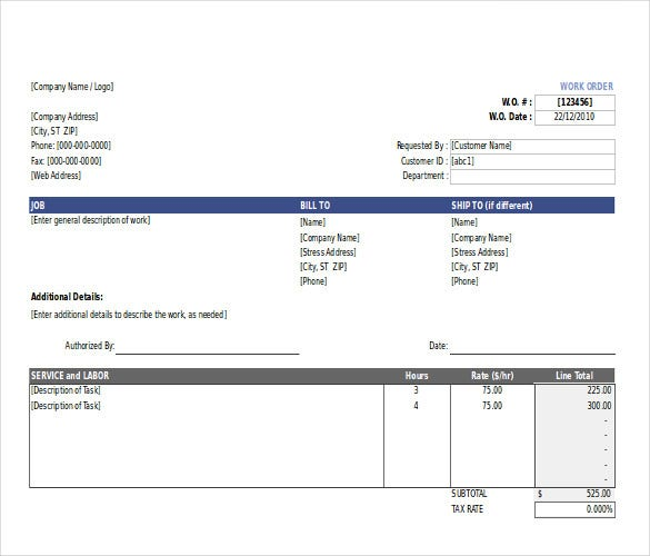 basic work order template download