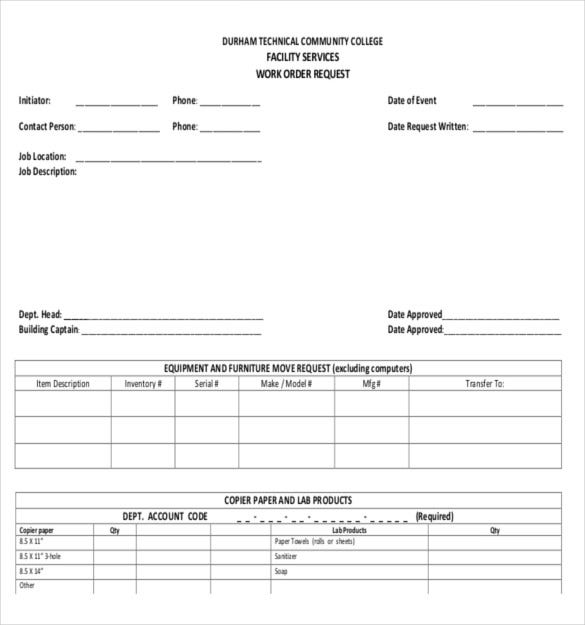 sample template for facilities work order request form