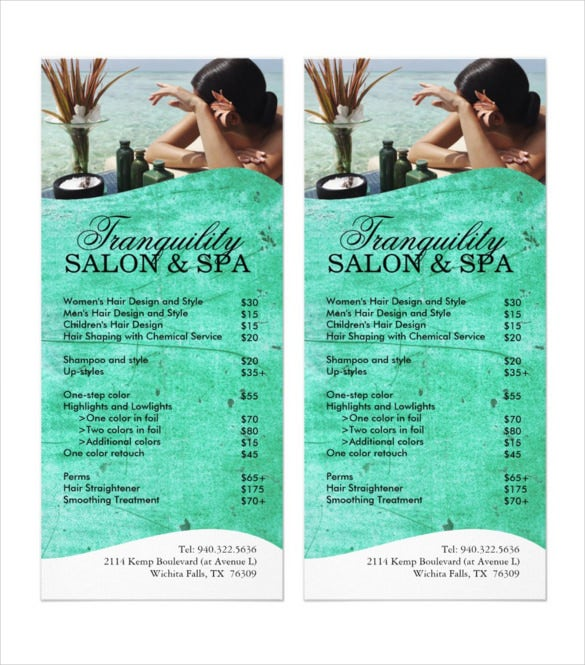 Cute Spa Menu Template Sample Download