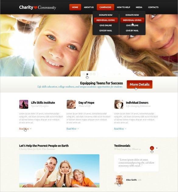 child charity community non profit psd template 11