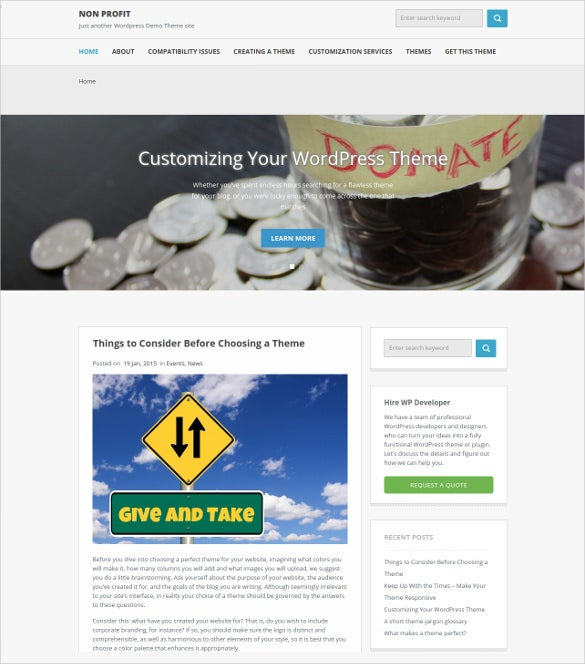 donation non profit psd wordpress theme 2