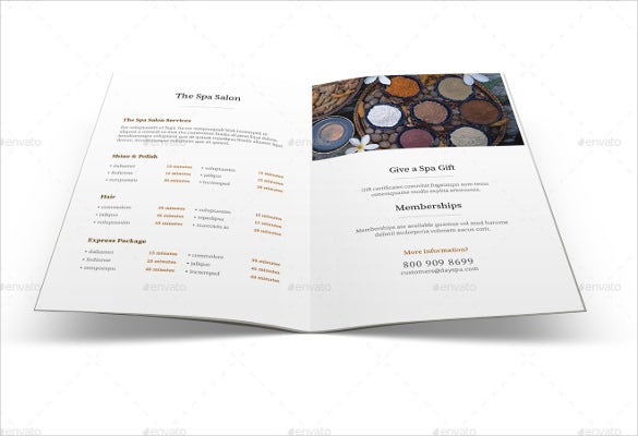 spa menu brochure ai illustrator format template download