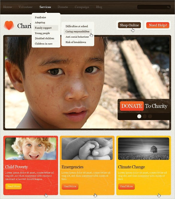 child charity non profit psd template 11