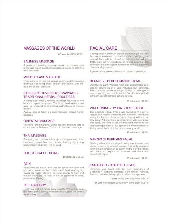 spa menu free pdf format download