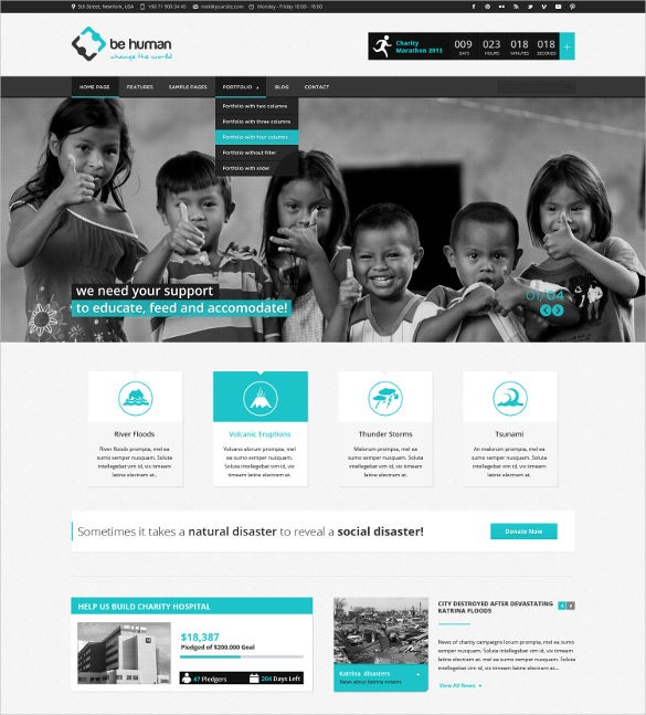 charity crowdfunding non profit psd theme 17