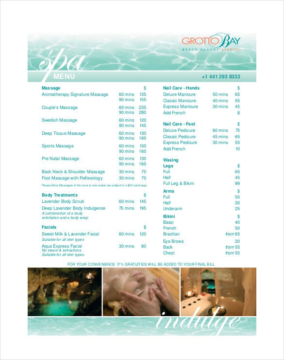 Free PDF Format Of Spa Menu Template Download