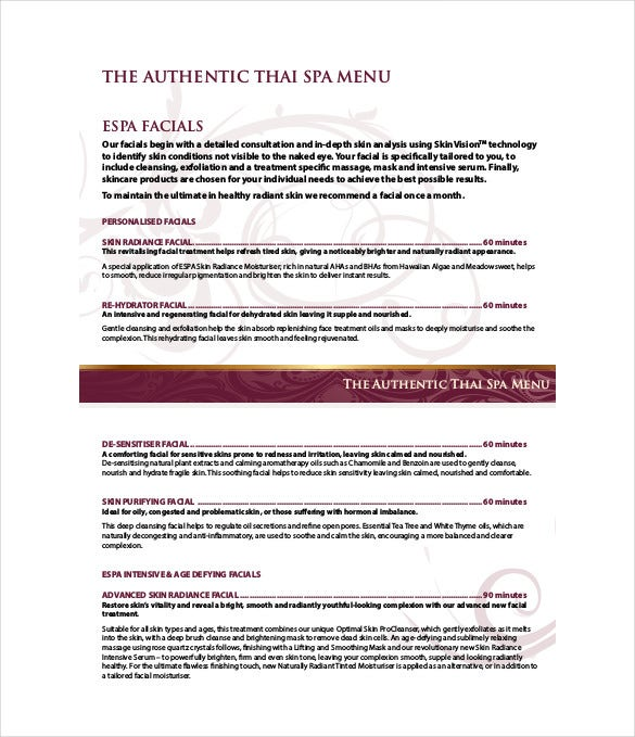free thai spa menu brochure pdf format download