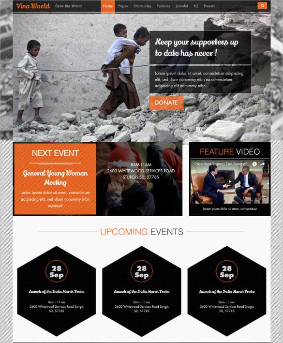 free charity non profit joomla psd template 12