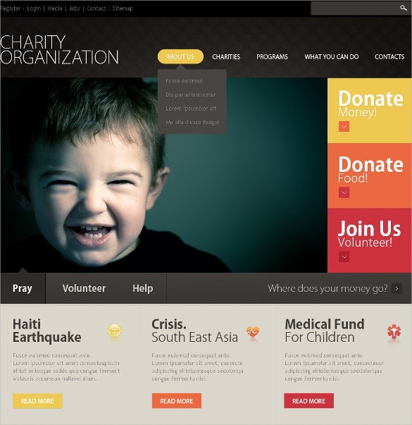 fundraising charity psd template 11