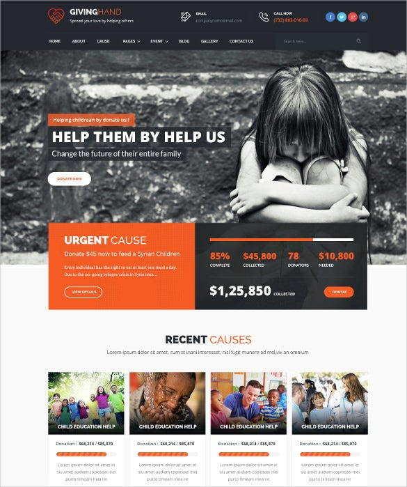 charity foundation non profit psd template 12