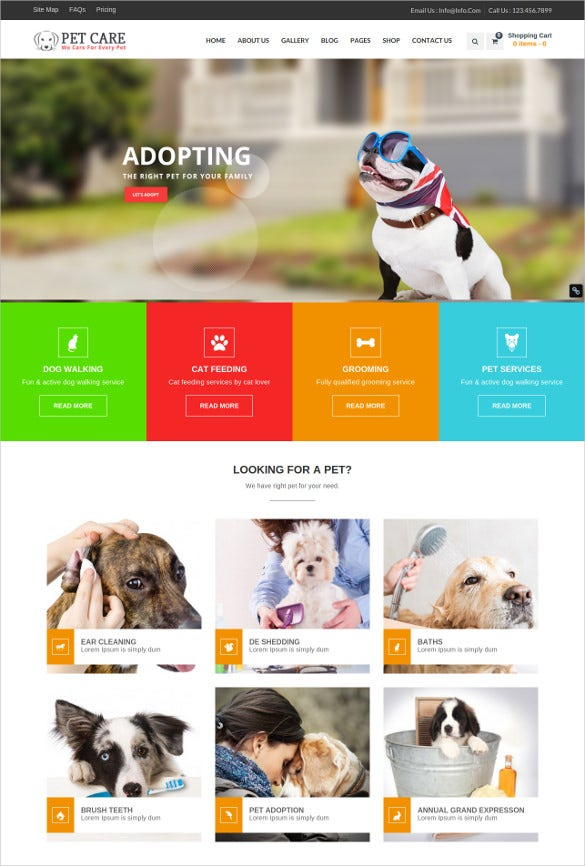 animal petcare wordpress theme