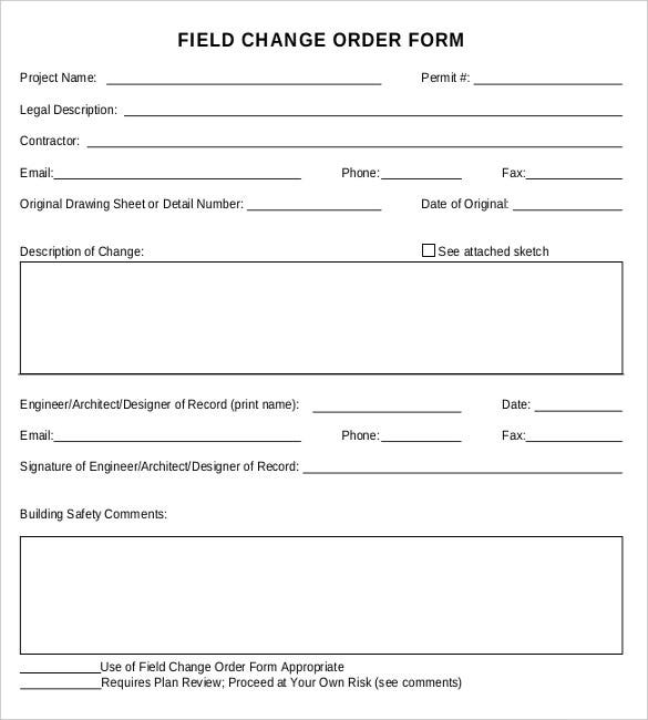 sample field change order form free download