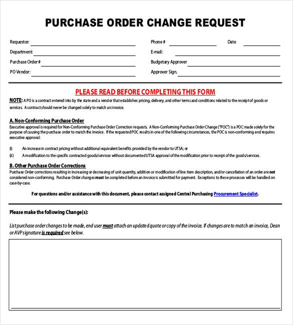 Purchase Order Change Request Form  Purchase Order Form Example