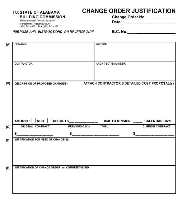 change order justification template free example format