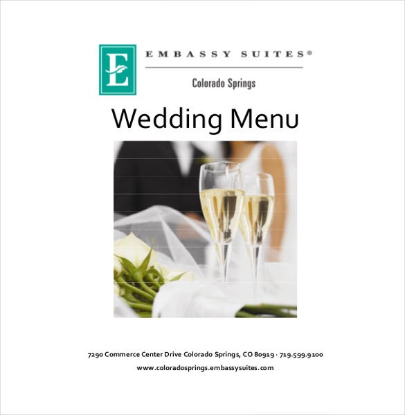 ready to print wedding menu templates download