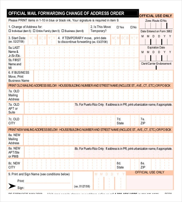 Address Change Order Form Sample Example Download  Free Change Of Address Form