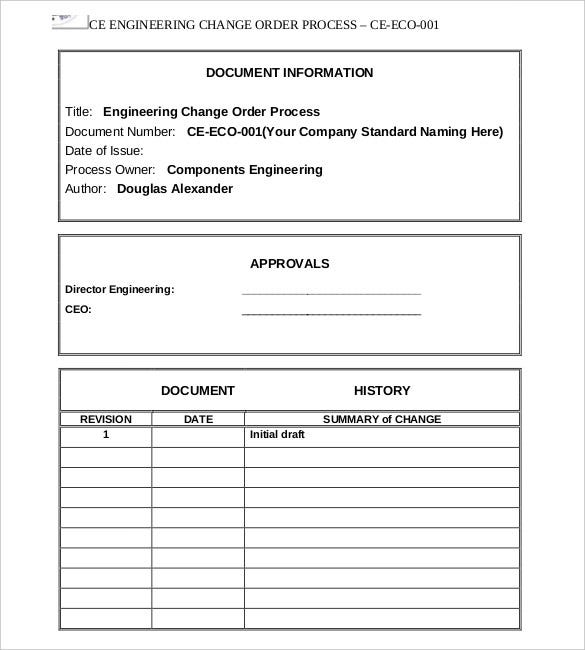 engineering process change order form free download