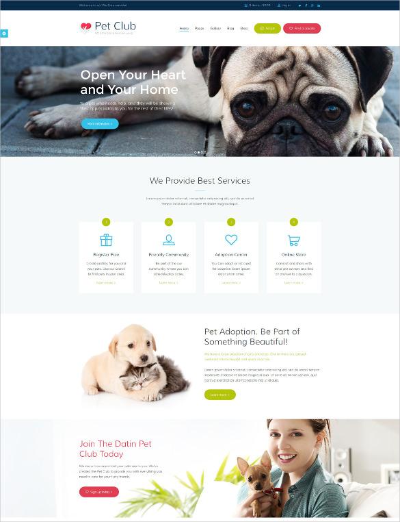 animal pet club services wordpress theme