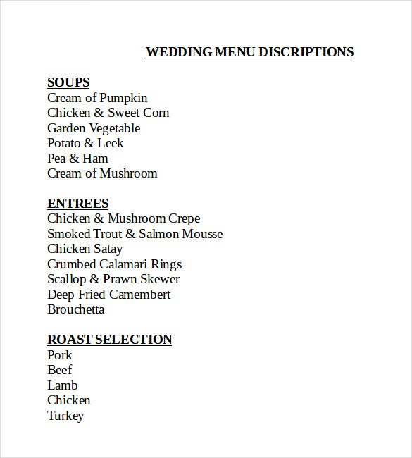 professional wedding menu template download
