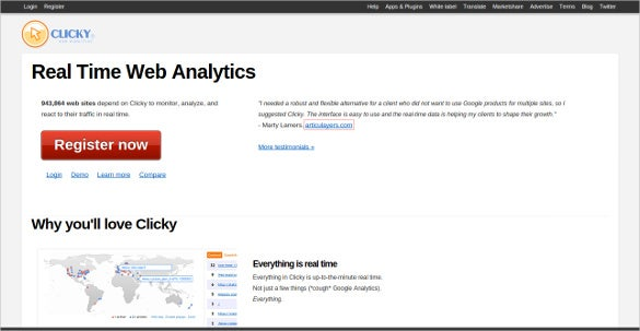 clicky real time web analytics tool