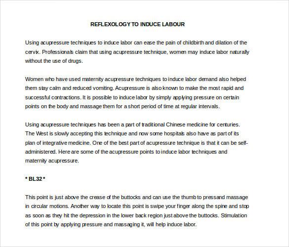 reflexology to induce labor