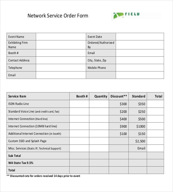 network service order form free download