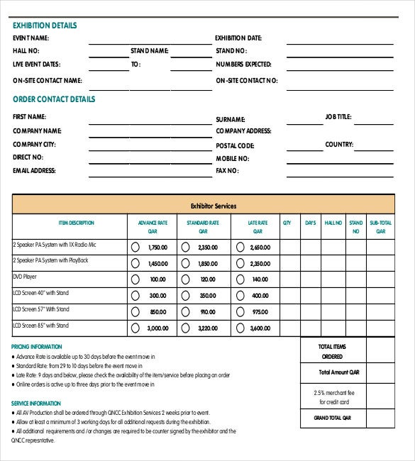 Sample Order Form | 18 Service Order Templates Free Sample Example Format Download