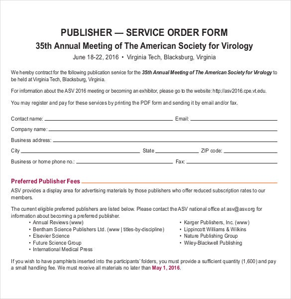 an example order form for publisher service