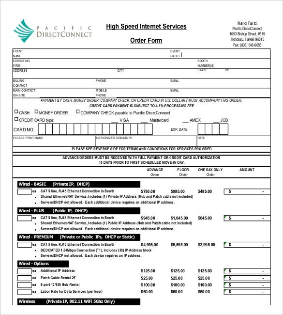 sample example template for internet service order form download