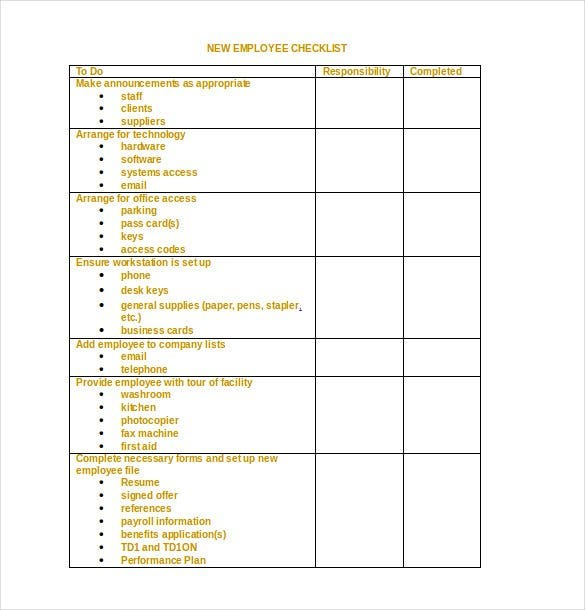 employee checklist template2