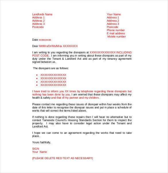 tenant complaint letter about modifications