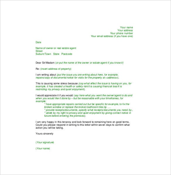 Tenant Complaint Letter   Free Word Pdf Documents Download