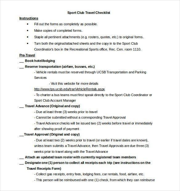 Travel Checklist Template Word File  Checklist Template Word