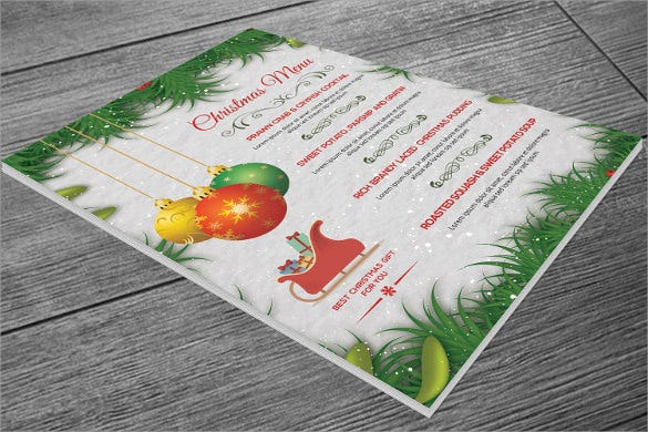 christmas party holiday menu template sample download