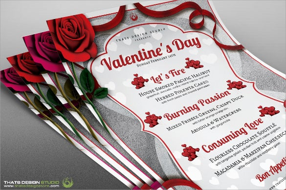 valentines holiday menu template sample download