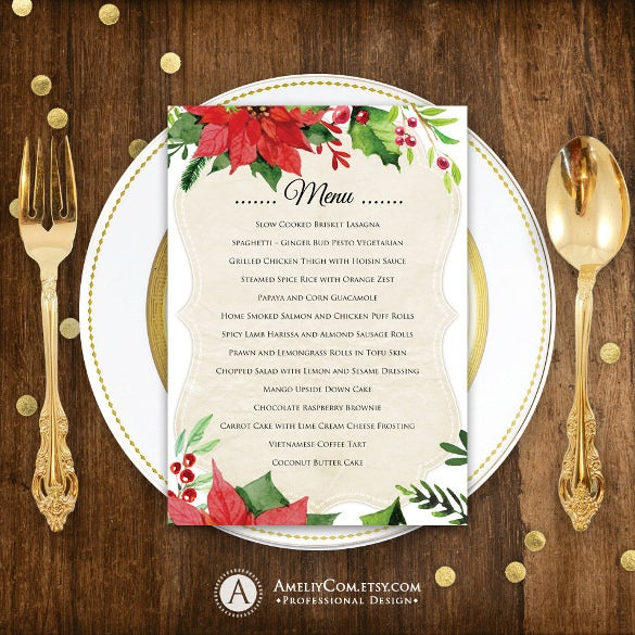 printable holiday menu template sample download